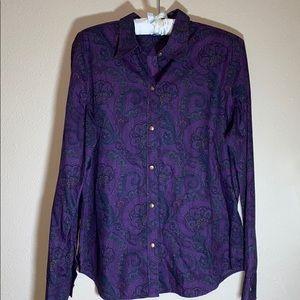 Chaps Purple Paisley Shirt Size Large